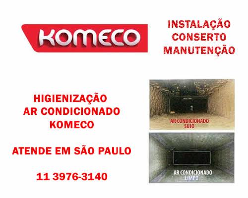 Higienização ar condicionado Komeco